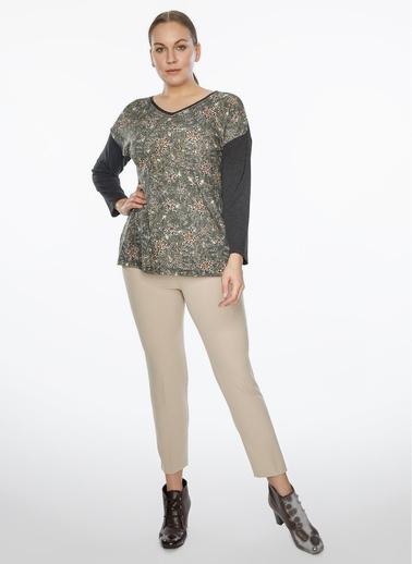 WHIP Design Desenli V Yaka Uzun Kol Penye Bluz Antrasit